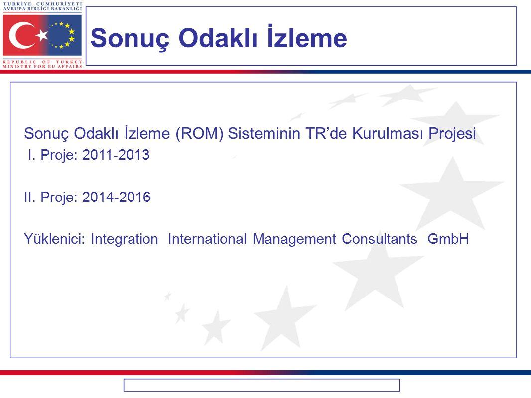 Sonuç Odaklı İzleme Sonuç Odaklı İzleme (ROM) Sisteminin TR'de Kurulması Projesi. I. Proje: 2011-2013.