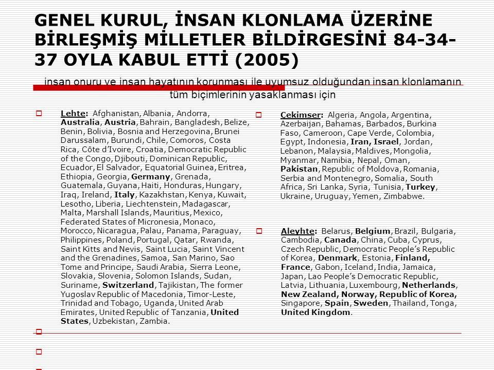 GENEL KURUL, İNSAN KLONLAMA ÜZERİNE BİRLEŞMİŞ MİLLETLER BİLDİRGESİNİ 84-34-37 OYLA KABUL ETTİ (2005)