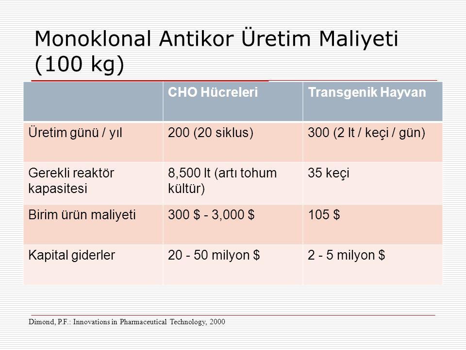 Monoklonal Antikor Üretim Maliyeti (100 kg)