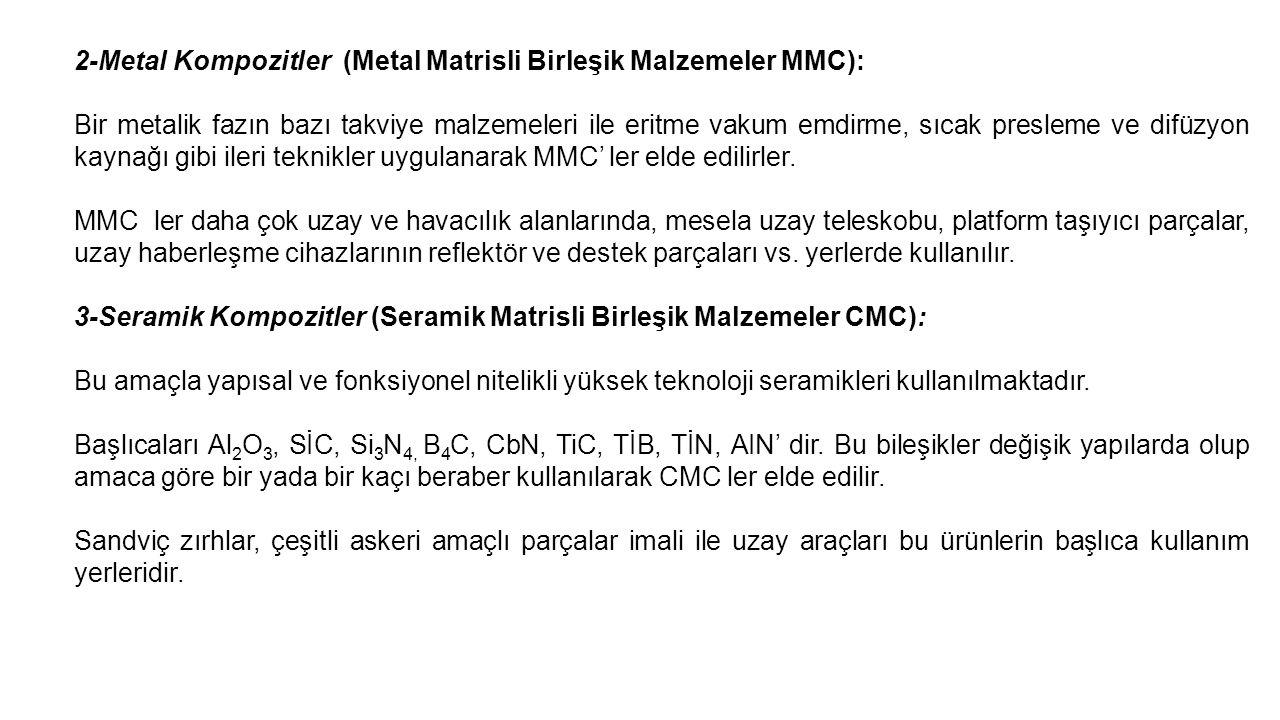2-Metal Kompozitler (Metal Matrisli Birleşik Malzemeler MMC):