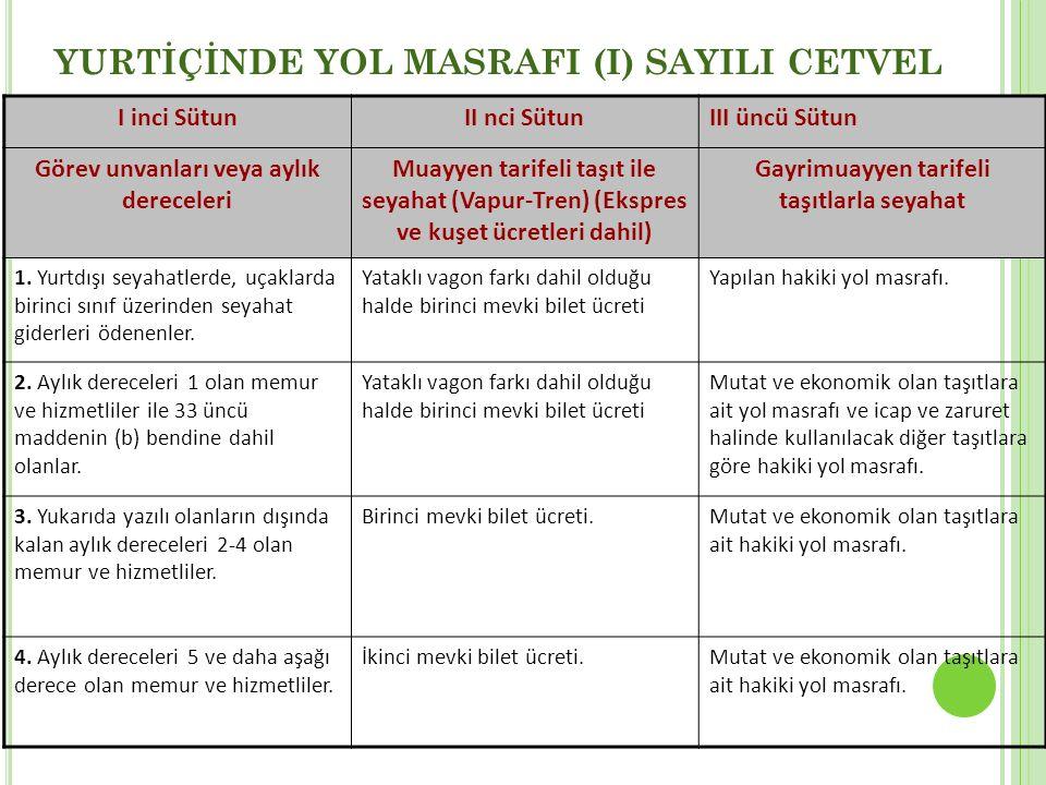 YURTİÇİNDE YOL MASRAFI (I) SAYILI CETVEL