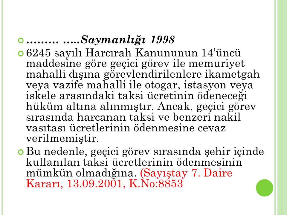 ……… …..Saymanlığı 1998