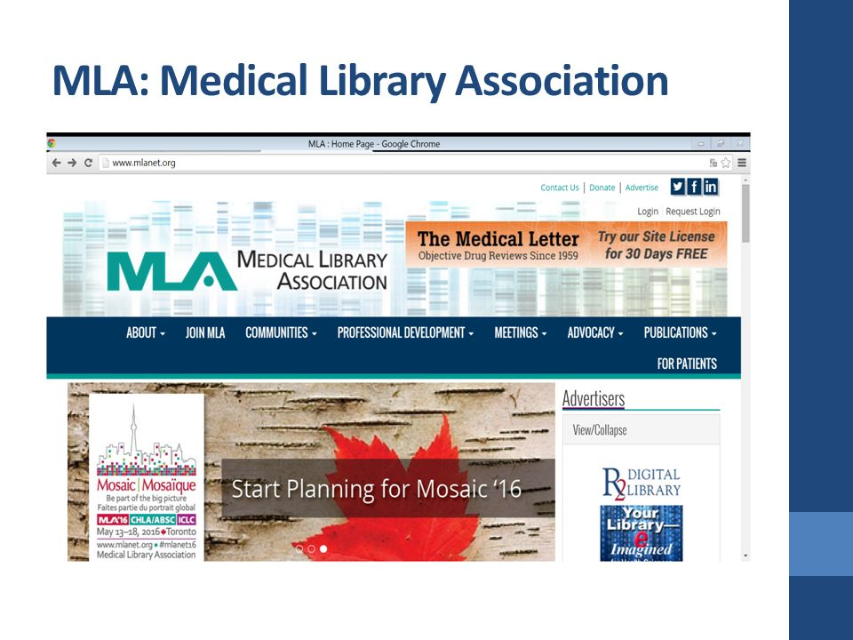 MLA: Medical Library Association