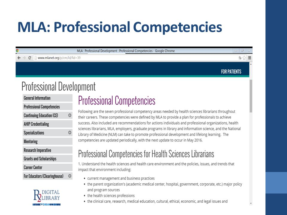 MLA: Professional Competencies