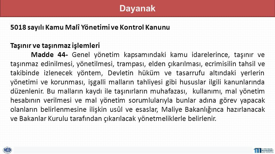Dayanak 5018 sayılı Kamu Malî Yönetimi ve Kontrol Kanunu