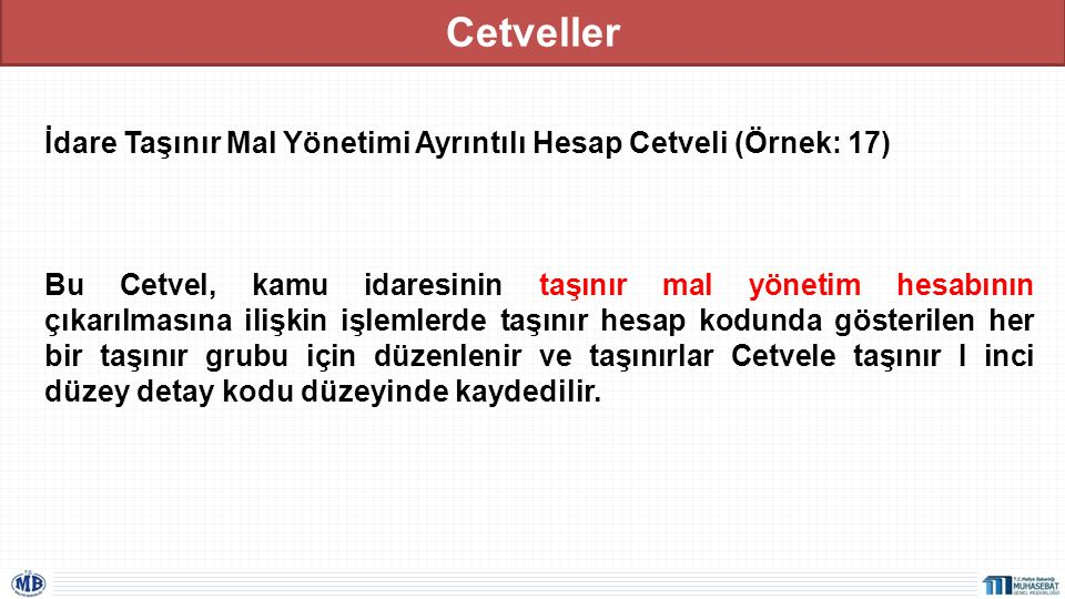 Cetveller İdare Taşınır Mal Yönetimi Ayrıntılı Hesap Cetveli (Örnek: 17)