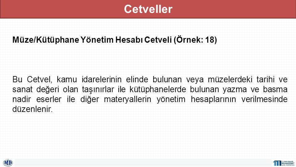 Cetveller Müze/Kütüphane Yönetim Hesabı Cetveli (Örnek: 18)
