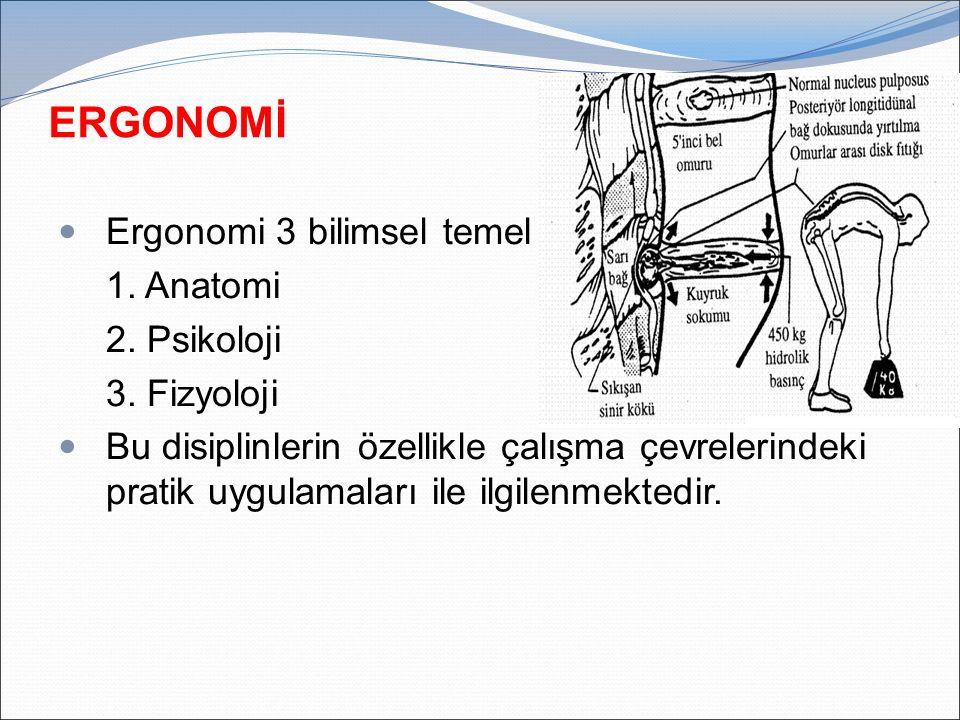 Ergonomi 3 bilimsel temel 1. Anatomi 2. Psikoloji 3. Fizyoloji