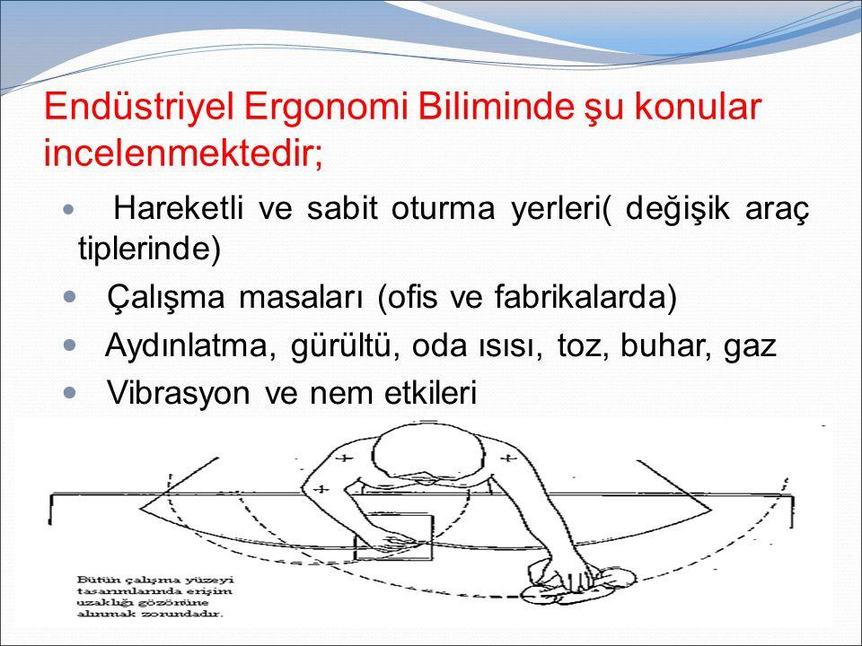 Endüstriyel Ergonomi Biliminde şu konular incelenmektedir;