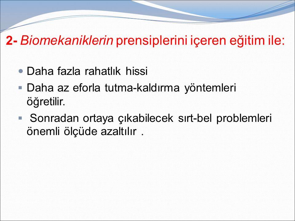 2- Biomekaniklerin prensiplerini içeren eğitim ile: