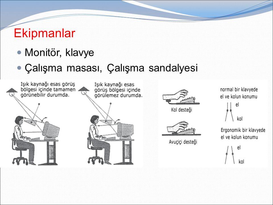 Ekipmanlar Monitör, klavye Çalışma masası, Çalışma sandalyesi