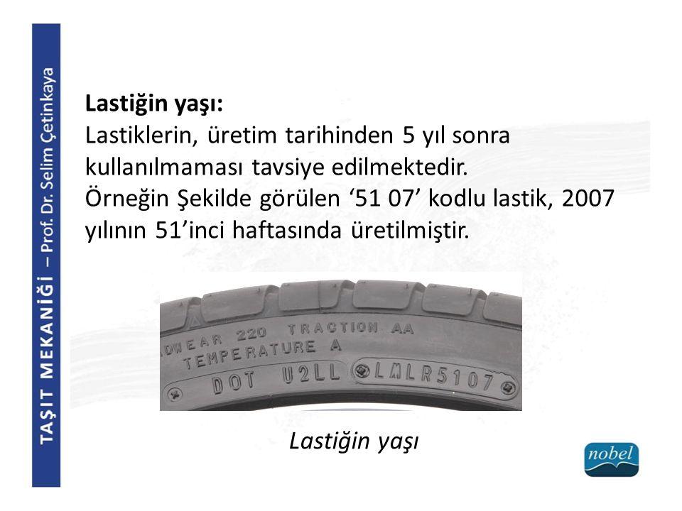 Lastiğin yaşı: Lastiklerin, üretim tarihinden 5 yıl sonra kullanılmaması tavsiye edilmektedir.