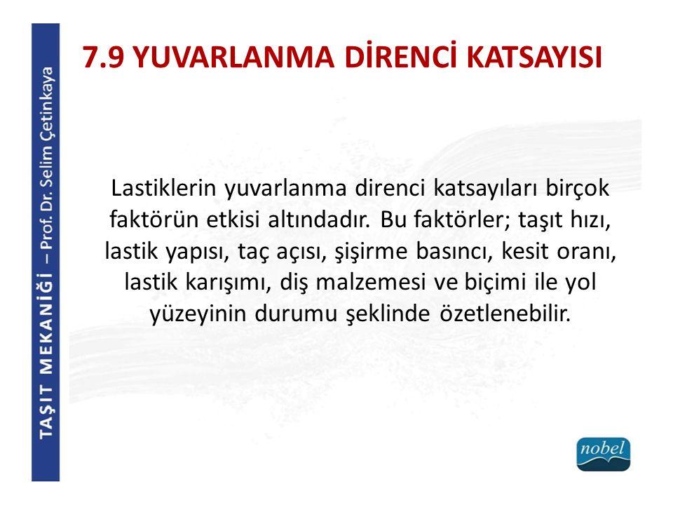 7.9 YUVARLANMA DİRENCİ KATSAYISI