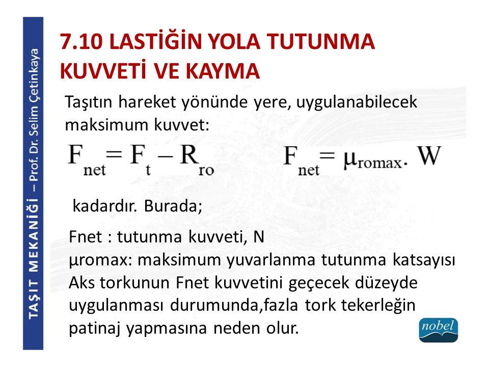 7.10 LASTİĞİN YOLA TUTUNMA KUVVETİ VE KAYMA
