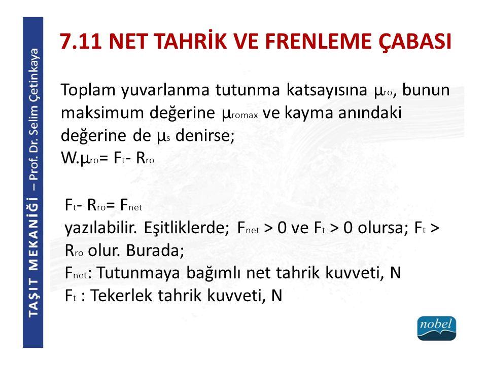 7.11 NET TAHRİK VE FRENLEME ÇABASI