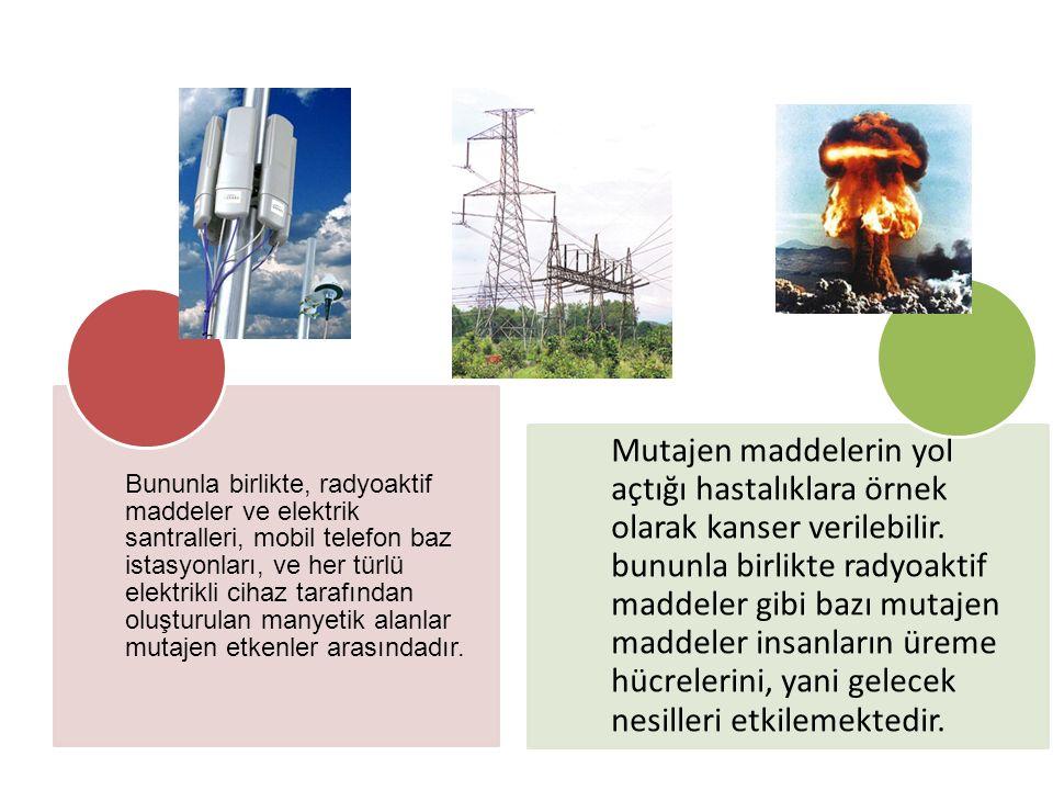 Bununla birlikte, radyoaktif maddeler ve elektrik santralleri, mobil telefon baz istasyonları, ve her türlü elektrikli cihaz tarafından oluşturulan manyetik alanlar mutajen etkenler arasındadır.