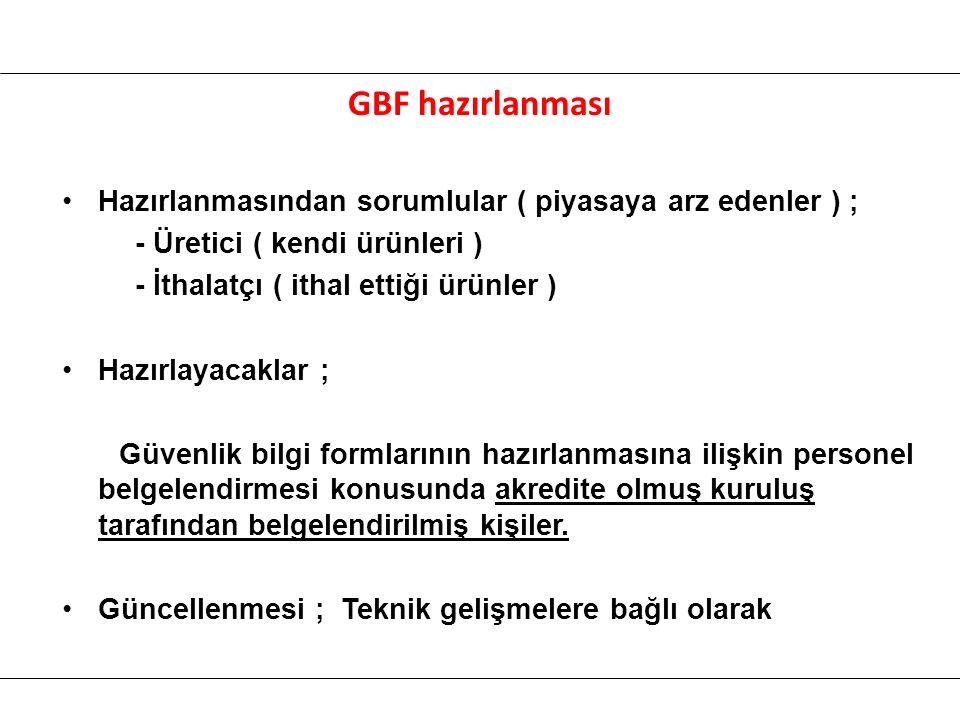 GBF hazırlanması Hazırlanmasından sorumlular ( piyasaya arz edenler ) ; - Üretici ( kendi ürünleri )