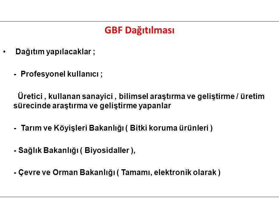 GBF Dağıtılması Dağıtım yapılacaklar ; - Profesyonel kullanıcı ;