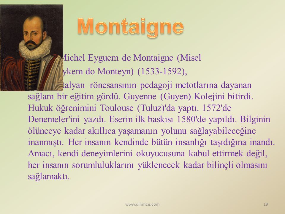 Montaigne Michel Eyguem de Montaigne (Misel