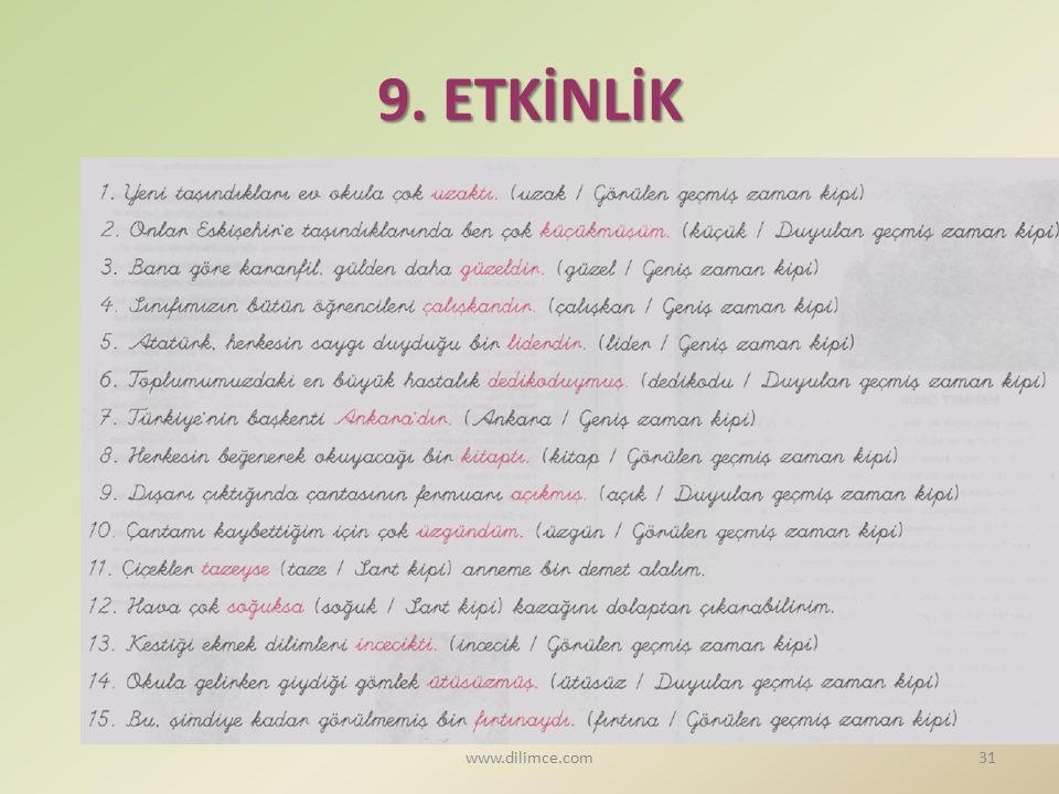 9. ETKİNLİK www.dilimce.com