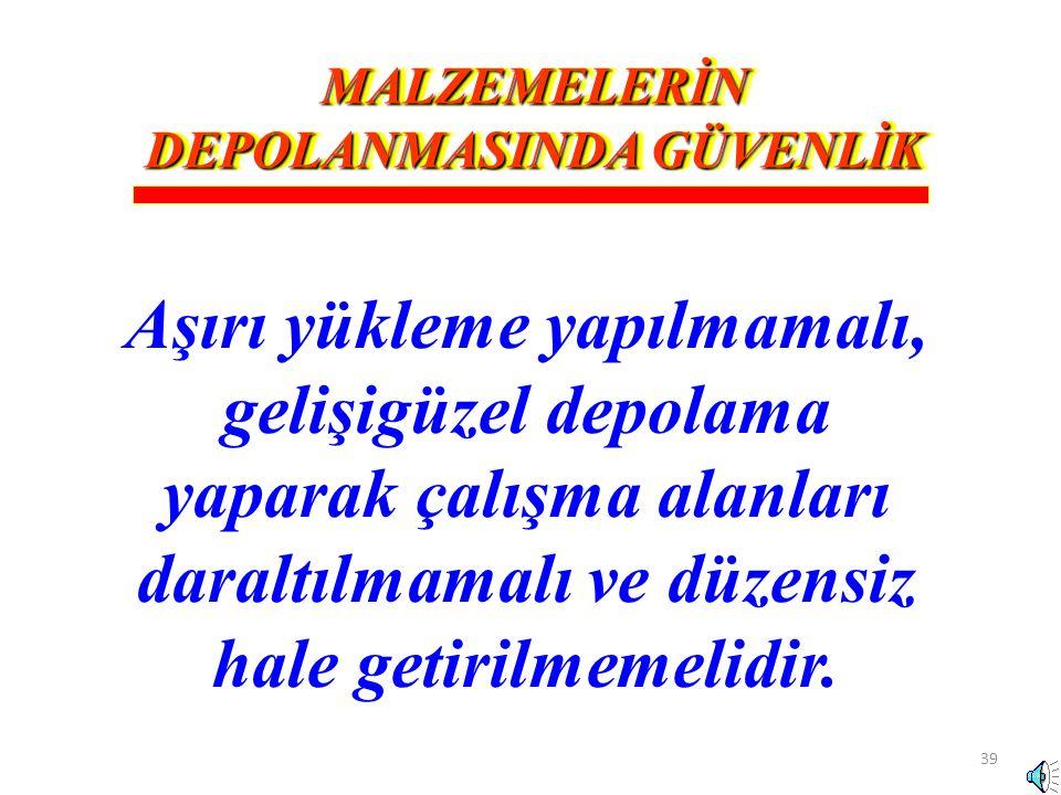 MALZEMELERİN DEPOLANMASINDA GÜVENLİK