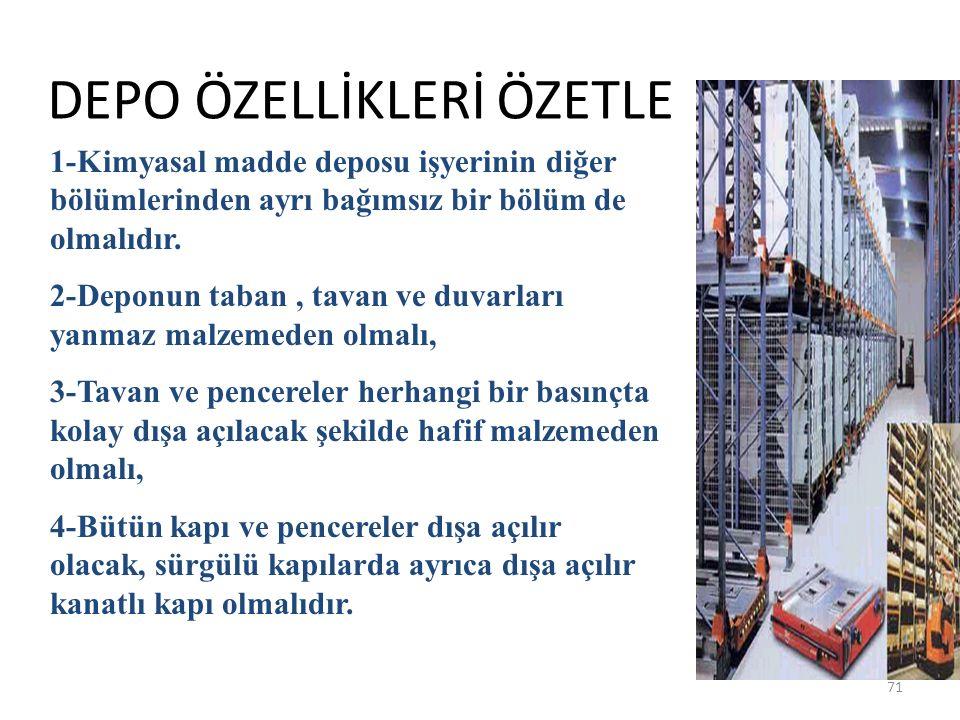DEPO ÖZELLİKLERİ ÖZETLE