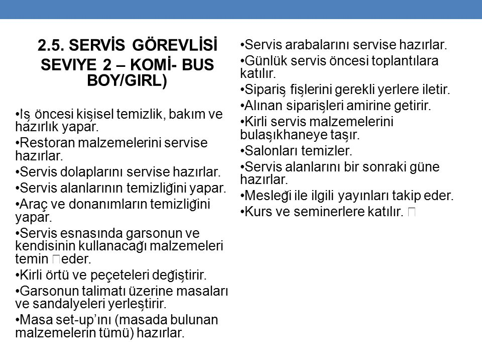 SEVIYE 2 – KOMİ- BUS BOY/GIRL)