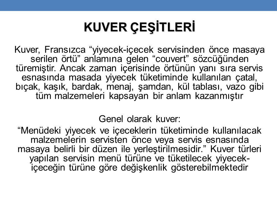 KUVER ÇEŞİTLERİ