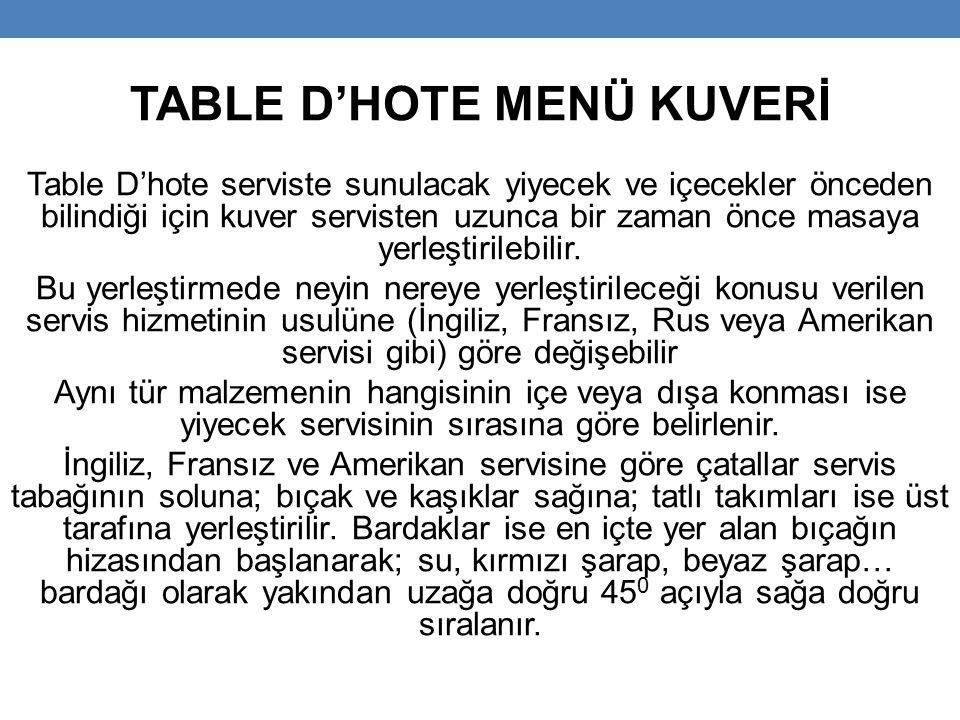 TABLE D'HOTE MENÜ KUVERİ
