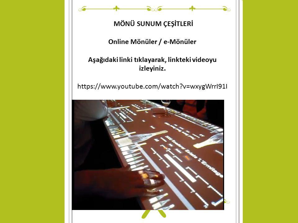 Online Mönüler / e-Mönüler