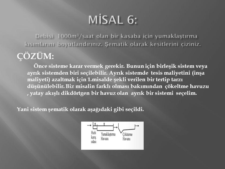 MİSAL 6: Debisi 1000m3/saat olan bir kasaba için yumaklaştırma kısımlarını boyutlandırınız. Şematik olarak kesitlerini çiziniz.