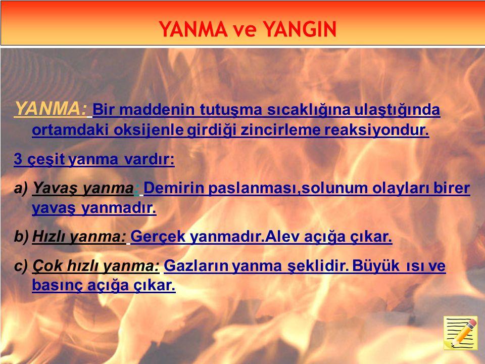 YANMA ve YANGIN YANMA: Bir maddenin tutuşma sıcaklığına ulaştığında ortamdaki oksijenle girdiği zincirleme reaksiyondur.
