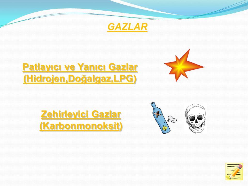 Patlayıcı ve Yanıcı Gazlar (Hidrojen,Doğalgaz,LPG)