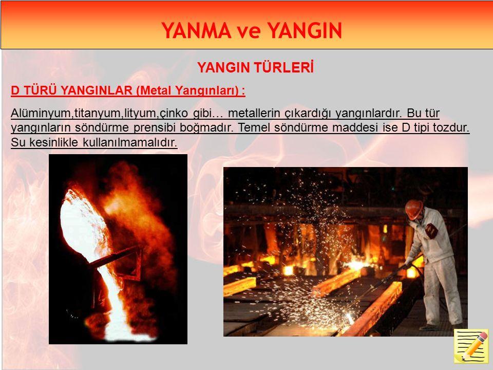 YANMA ve YANGIN YANGIN TÜRLERİ D TÜRÜ YANGINLAR (Metal Yangınları) :