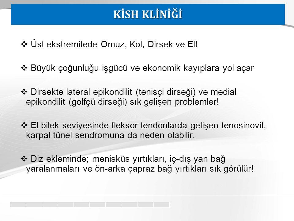 KİSH KLİNİĞİ Üst ekstremitede Omuz, Kol, Dirsek ve El!