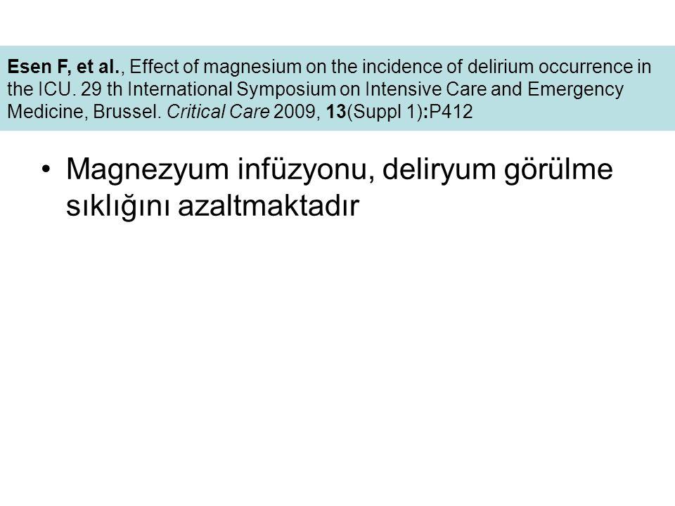 Magnezyum infüzyonu, deliryum görülme sıklığını azaltmaktadır