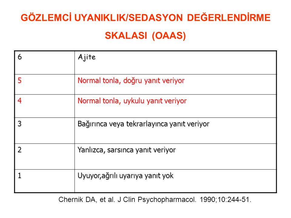 GÖZLEMCİ UYANIKLIK/SEDASYON DEĞERLENDİRME SKALASI (OAAS)