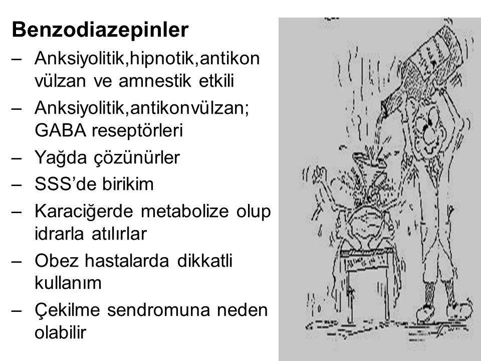 Benzodiazepinler Anksiyolitik,hipnotik,antikon vülzan ve amnestik etkili. Anksiyolitik,antikonvülzan; GABA reseptörleri.