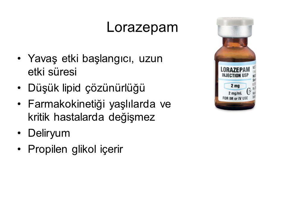 Lorazepam Yavaş etki başlangıcı, uzun etki süresi
