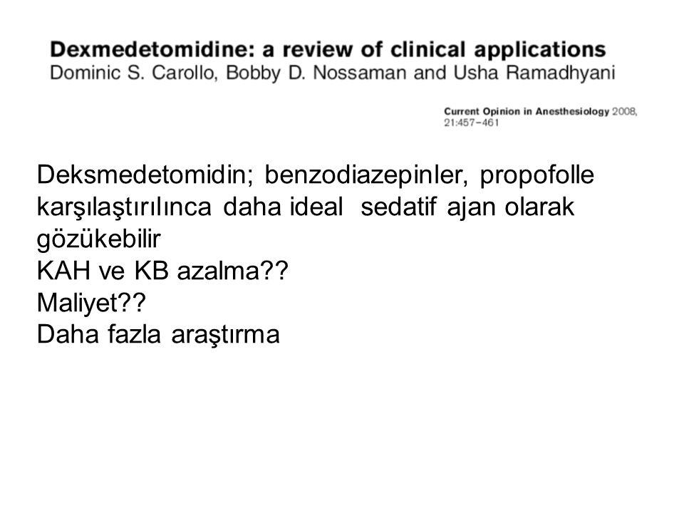 Deksmedetomidin; benzodiazepinler, propofolle karşılaştırılınca daha ideal sedatif ajan olarak gözükebilir