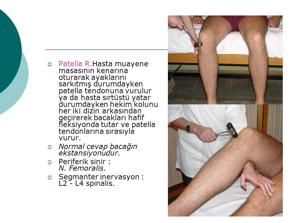 Patella R.Hasta muayene masasının kenarına oturarak ayaklarını sarkıtmış durumdayken patella tendonuna vurulur ya da hasta sırtüstü yatar durumdayken hekim kolunu her iki dizin arkasından geçirerek bacakları hafif fleksiyonda tutar ve patella tendonlarına sırasıyla vurur.