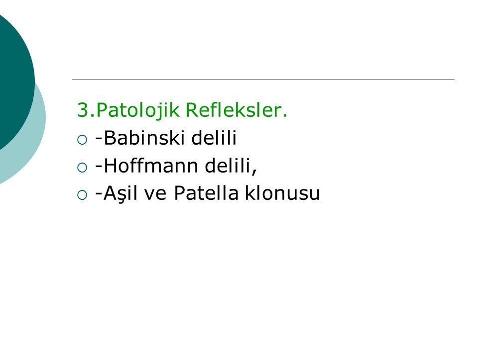 3.Patolojik Refleksler. -Babinski delili -Hoffmann delili, -Aşil ve Patella klonusu