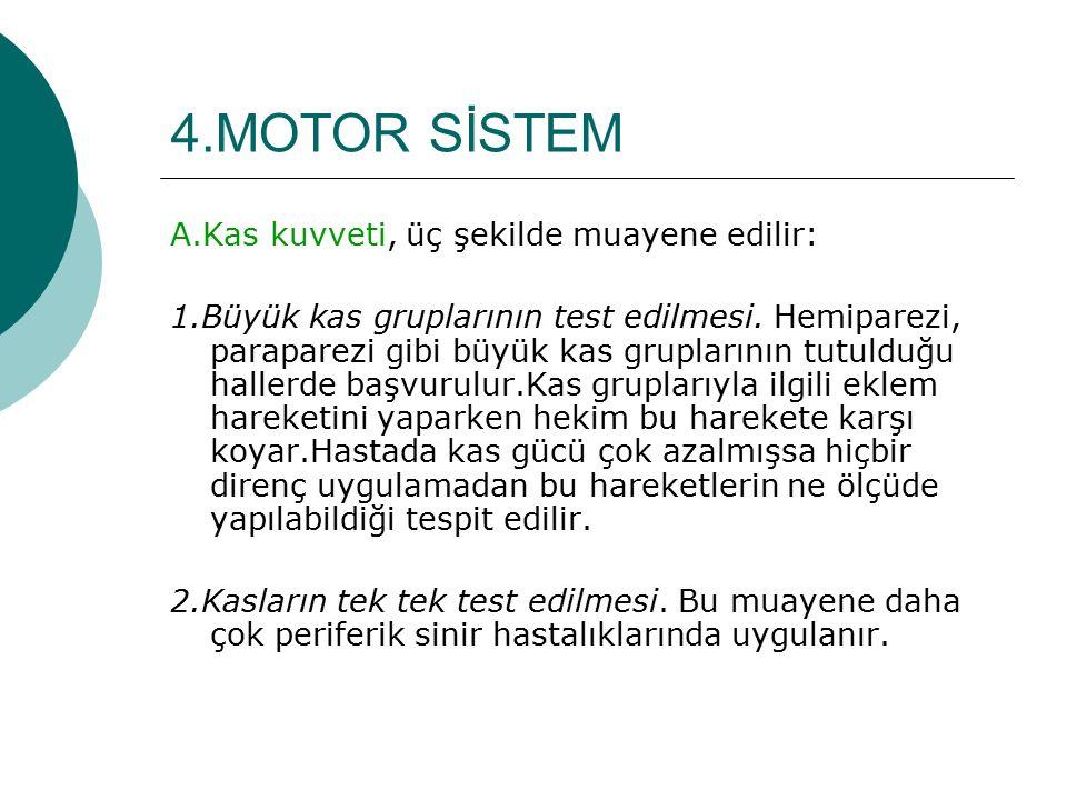 4.MOTOR SİSTEM A.Kas kuvveti, üç şekilde muayene edilir: