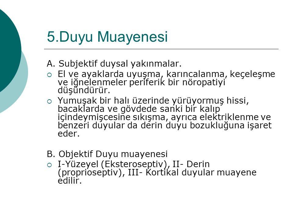 5.Duyu Muayenesi A. Subjektif duysal yakınmalar.