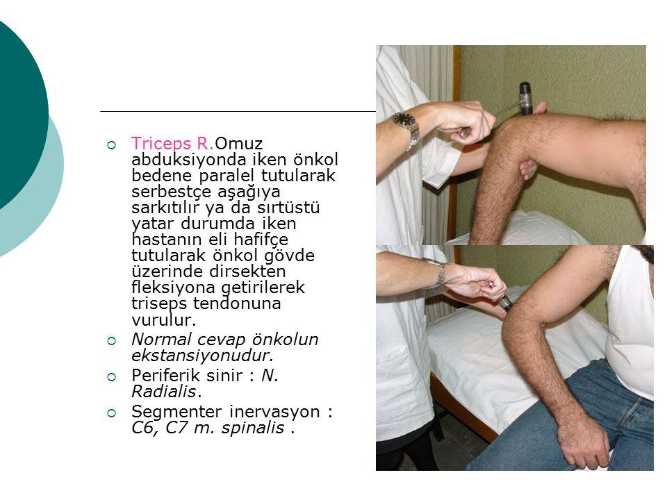 Triceps R.Omuz abduksiyonda iken önkol bedene paralel tutularak serbestçe aşağıya sarkıtılır ya da sırtüstü yatar durumda iken hastanın eli hafifçe tutularak önkol gövde üzerinde dirsekten fleksiyona getirilerek triseps tendonuna vurulur.