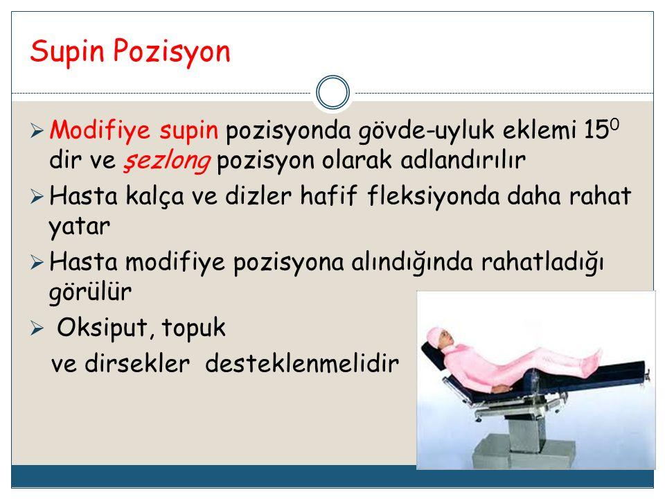 Supin Pozisyon Modifiye supin pozisyonda gövde-uyluk eklemi 150 dir ve şezlong pozisyon olarak adlandırılır.