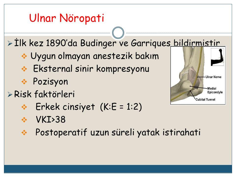 Ulnar Nöropati İlk kez 1890'da Budinger ve Garriques bildirmiştir