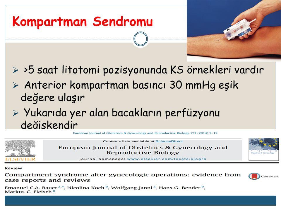 Kompartman Sendromu >5 saat litotomi pozisyonunda KS örnekleri vardır. Anterior kompartman basıncı 30 mmHg eşik değere ulaşır.