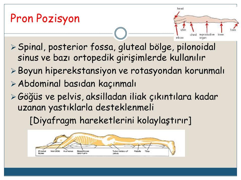 Pron Pozisyon Spinal, posterior fossa, gluteal bölge, pilonoidal sinus ve bazı ortopedik girişimlerde kullanılır.