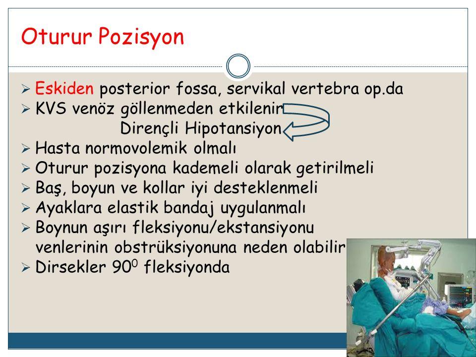 Oturur Pozisyon Eskiden posterior fossa, servikal vertebra op.da